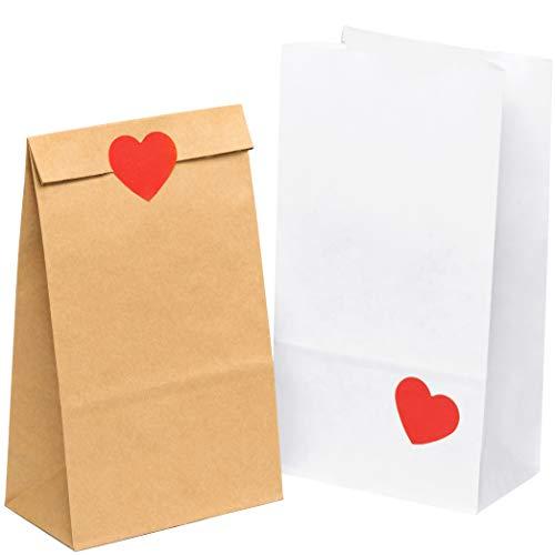 kgpack 100x Art & Craft DIY Borse Carta kraft con adesivo a cuore 14 x 26 x 8 cm | Sacchetti di...
