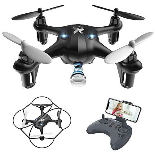 Giocattoli per Bambini Mini Drone con Telecamera FPV WiFi Trasmissione G-sensore AT-96 RC Quadcopter...