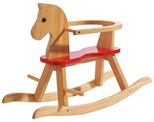 roba Cavallo a Dondolo in Legno Massiccio Naturale Laccato Rosso, Staffa di Protezione Amovibile in...