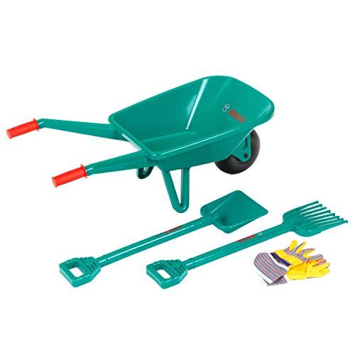 Theo Klein 2752 Set da giardino con carriola, Con pala, rastrello e guanti da lavoro, Dimensioni:...