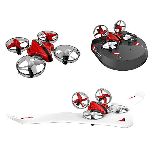 Walmeck- L6082 RC Drone Airplane Hovercraft 3 in 1 Quadcopter Glider Airship 2.4G RC Giocattolo...