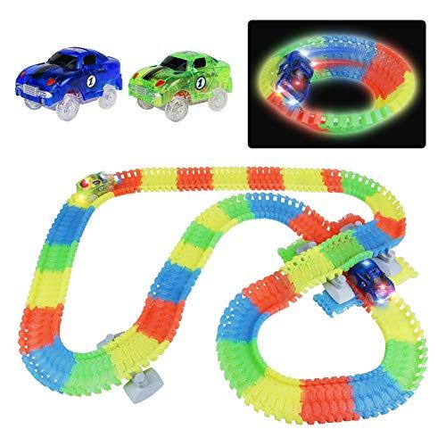 Symiu Pista Macchinine Giocattolo per Bambini con 2 LED Cars Macchinine e 240 Pezzi Luminosa...