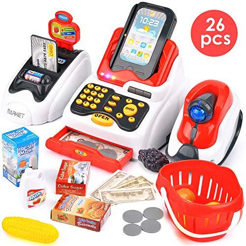 Buyger 26 Pezzi Registratore di Cassa Elettronico Supermercato Giocattolo con Scanner per Bambini...