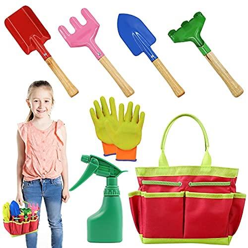 AGAKY Attrezzi da Giardinaggio per Bambini,Set Giardinaggio Attrezzi 7 Pezzi con Borsa,Include...