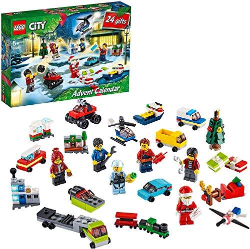 LEGO City Calendario dell'Avvento 2020, Mini Set di Costruzioni Natalizie con Micro Veicoli, Slitta...
