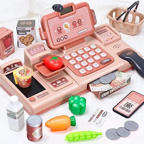 BeebeeRun 25 Pezzi Registratore di Cassa Supermercato Giocattolo per Bambini,Elettronico...