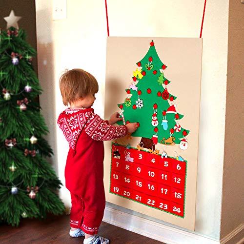 Aparty4u Felt Christmas Tree Advent Calendari per Bambini, 24 Giorni Conto alla rovescia per Natale...