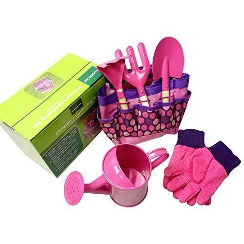 QPY - Attrezzi da giardinaggio per bambini, giocattolo da giardino per bambini, con annaffiatoio,...