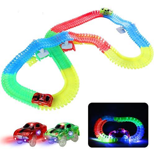 Fajiabao Pista Macchinine Giocattolo Bambini Auto - Luminosa Elettriche LED Flessibile Colorate...
