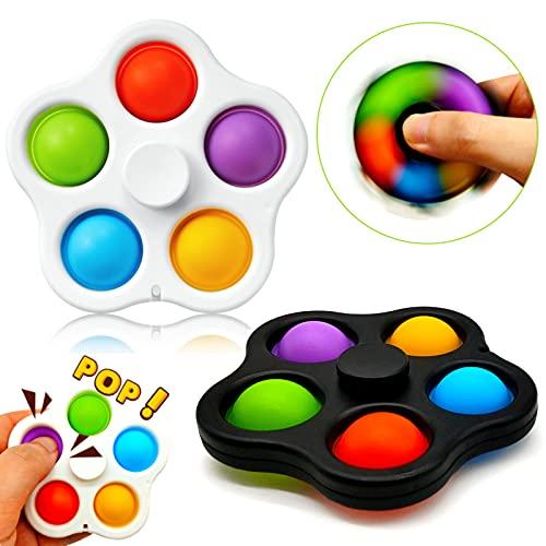 Paochocky Set di Giocattoli sensoriali semplici Fossette, 2 Pezzi Five Fingers Bubble con Spin Toy,...