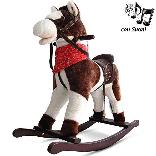 BAKAJI Cavallo a Dondolo per Bambini con Suoni Realistici Nitrisce e Muove la Bocca Struttura in...