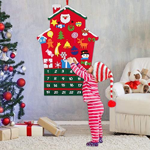 FunPa Calendari dell'avvento, Calendario Natalizio Feltro Albero di Natale Calendario dell'avvento...