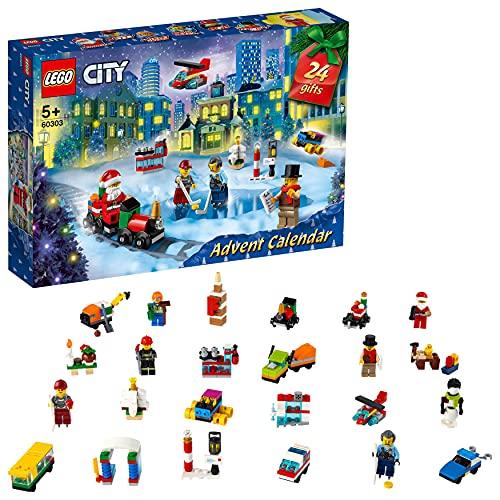 LEGO City Calendario dell'Avvento 2021, Giocattoli Natalizi per Bambini dai 5 Annicon Tappetino e 6...
