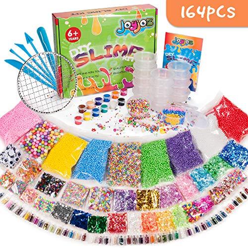 Joyjoz 164 PCS Slime Kit, Comprese Perline Fishbowl, Palline di Schiuma, Carta da Zucchero,...