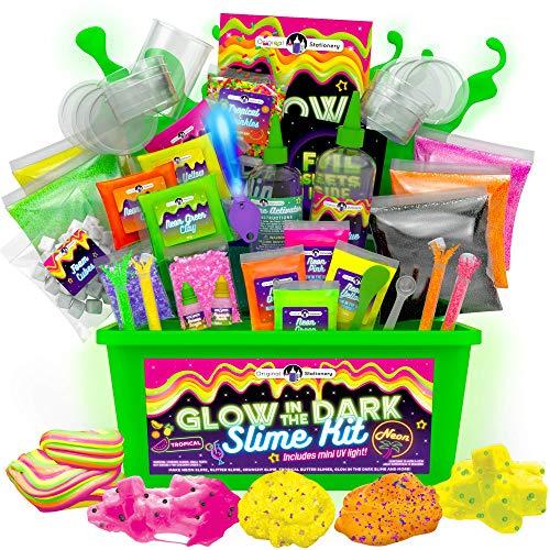 Original Stationery Slime Kit Neon Tropical con Glow in The Dark Slime con Colla per Slime Fluffy...