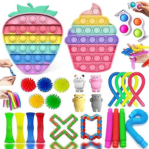 MAFHVV Fidget Toy Set, Fidget Toy Regali Antistress Bambini, Fidget Toys Box con Push Bubble Fidget...