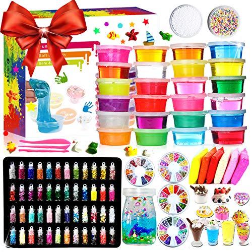 Fai da Te Fluffy Slime Kit –24 Colori Slime Kit per Ragazze Ragazzi Giocattoli con 48 Glitter in...