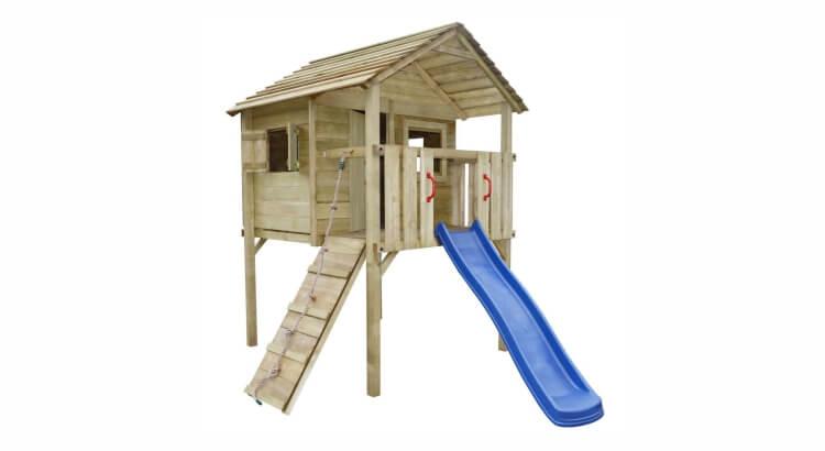 Migliori casette in legno con scivolo: Casetta di legno di vidaXL