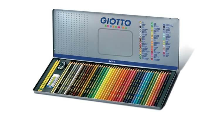 Migliori matite colorate:Scatola in metallo da 50 pezzi Supermina di Giotto