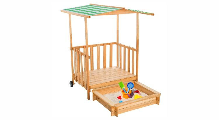 Migliori sabbiere in legno: Veranda da gioco con sabbiera di TecTake
