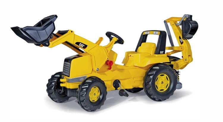 Migliori trattori a pedali per bambini:Cat Backhoe con ruspa junior e escavatore posteriore di Rolly Toys