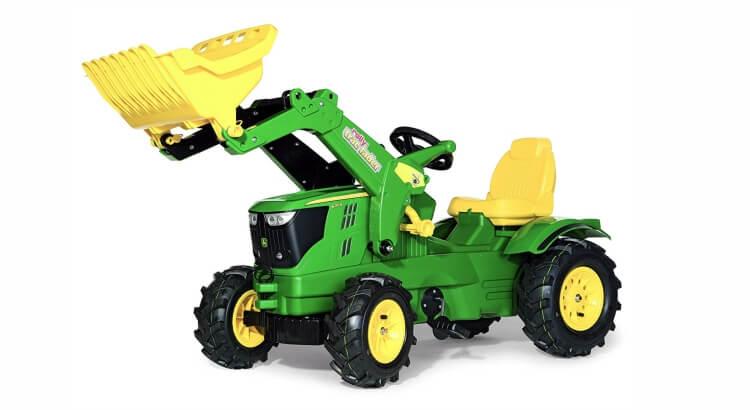 Migliori trattori a pedali per bambini:Trattore a pedali con ruspa e ruote gonfiabili Farmtrac John Deere 6210R di Rolly Toys