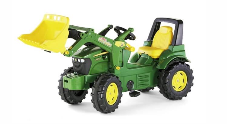 Migliori trattori a pedali per bambini:Trattore a pedali John Deere 7930 con ruspa trac di Rolly Toys