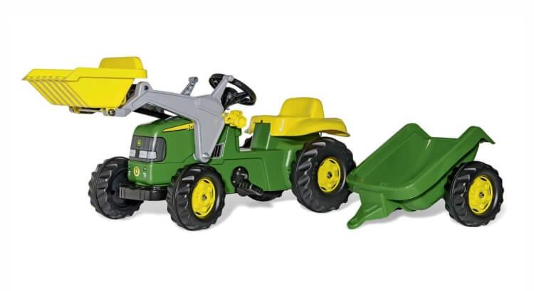 Migliori trattori a pedali per bambini:Trattore a pedali Kid John Deere con ruspa e rimorchio di Rolly Toys