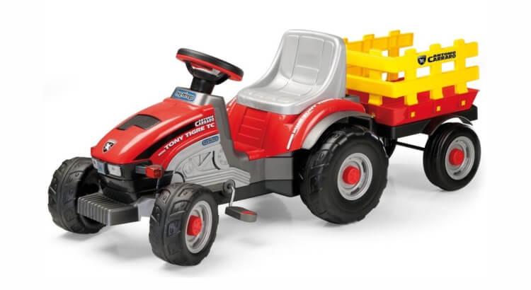 Migliori trattori a pedali per bambini:Trattore a pedali con rimorchio Mini Tony Tigre di Peg Perego
