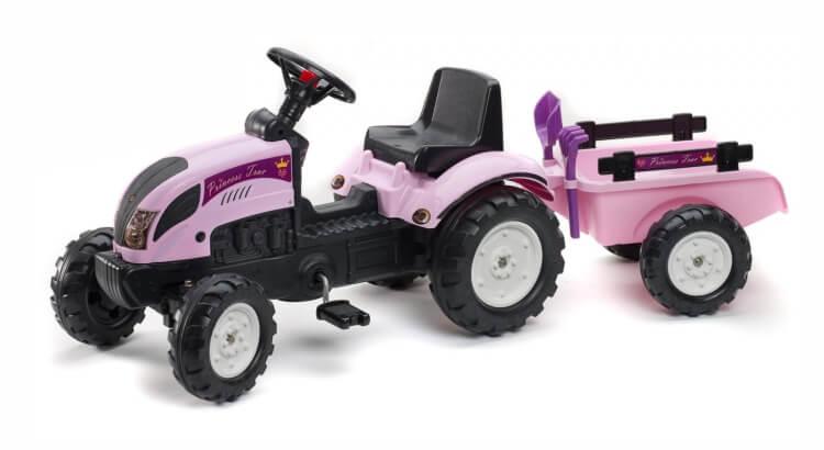 Migliori trattori a pedali per bambini:Trattore con rimorchio, pala e rastrello Princess Trac di Falk