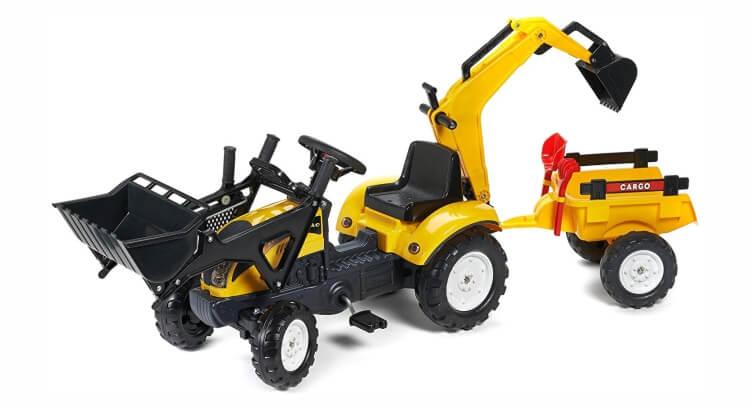 Migliori trattori a pedali per bambini:Trattore con rimorchio, escavatore, pala e rastrello Terna Ranch Trac di Falk