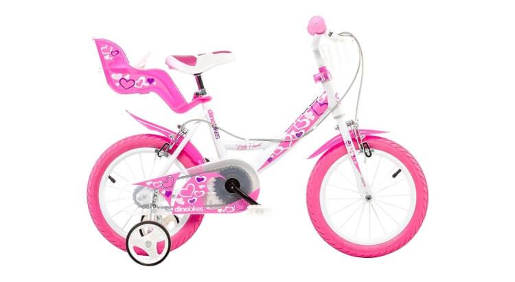 Migliori biciclette per bimbe di 2-4 anni: Bicicletta 14'' Little Heart di Dino Bikes