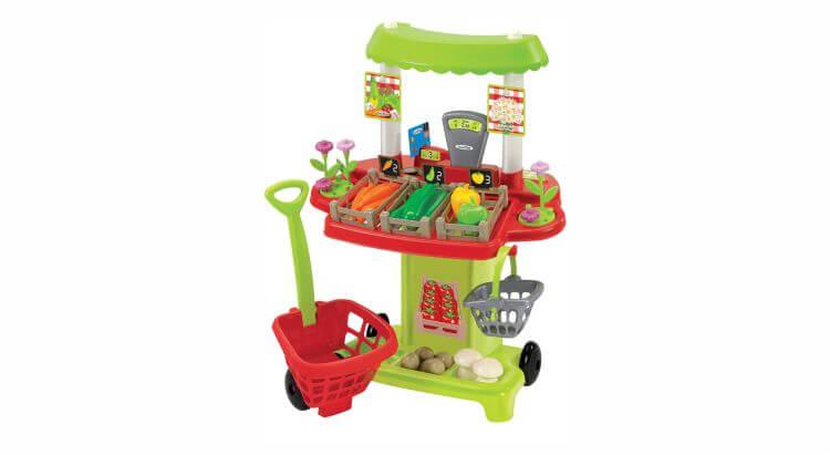 Migliori bancarelle giocattolo:100% Chef Bancarella frutta e verdura con cestello su ruote di Ecoiffier